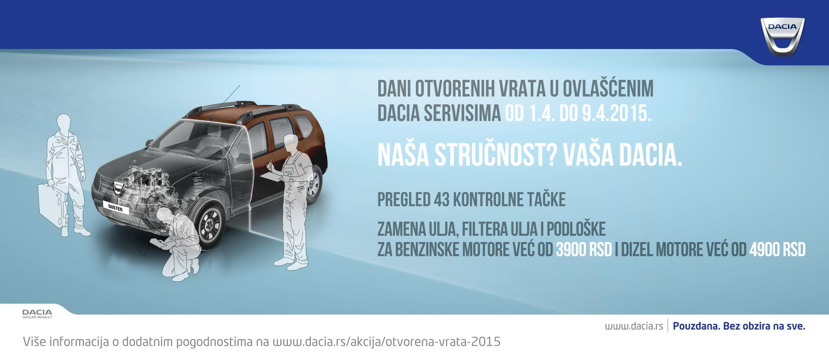 Dani otvorenih vrata u ovlašćenom Dacia servis-u  od 01.04 do 09.04.2015.
